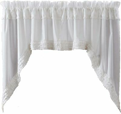 """Sheer White Ruffled Country Farmhouse Chic Window Swag Set 36"""" Long x 72"""" Wide"""