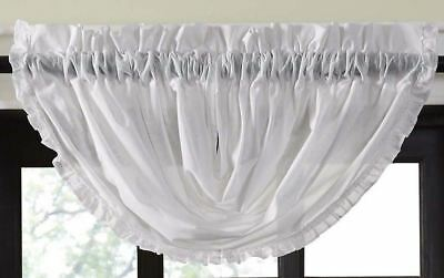 "White Sheer Romantic Farmhouse Cottage Chic Ruffled Balloon Valance 15"" Drop"