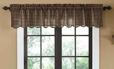 Rustic Navy Check Cotton Lined Window Valance Blue Khaki Tan Check Scalloped Hem