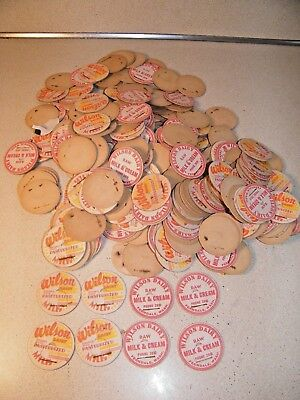 Vintage Wilson Dairy Milk Bottle Caps  Raw Milk & Cream & Pasteurized Lot