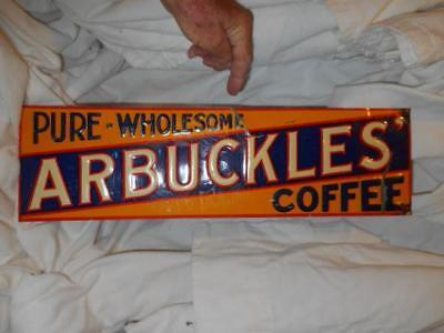 Arbuckles Coffee Tin Sign Vintage AS IS