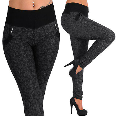 Ranke Stretch Hose breiter Bund Gold Knöpfe Treggings Leggings Röhre Stoff
