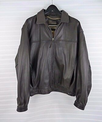 Marc New York Men's Leather Bomber Jacket Brown Size XL Pre-Owned Exc Condition