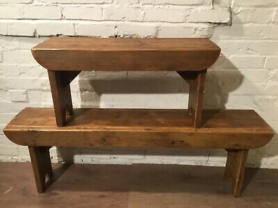 Old School Antique 4ft Rustic Reclaimed Pine Dining Plank Table Chair BENCH