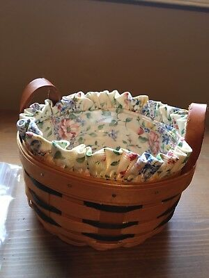 Longaberger Button Basket  with protector and 2 liners