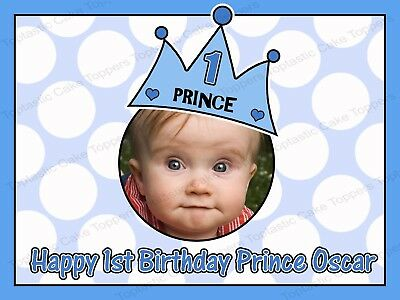 Personalised Boys 1st 2nd 3rd Birthday Prince Own Photo Edible Icing Cake Topper