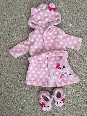 Pink DRESSING GOWN  Robe  & slippers Nightwear  Baby Girls Age 0-3 Months