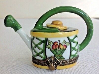 LIMOGES BOX~ CHAMART ~ Sun hat Garden Watering Can with  Frog