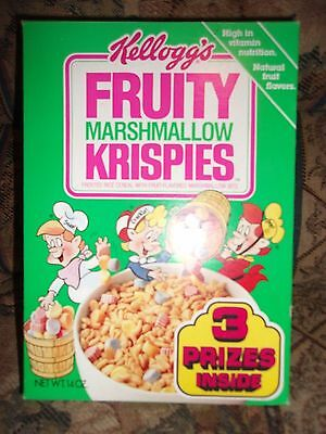 Vintage Kelloggs FRUITY Marshmallow KRISPIES  Cereal Box SNAP CRACKLE POP