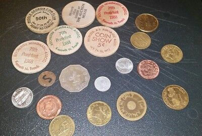 token lot wooden nickles, foreign couns ect 20 piece