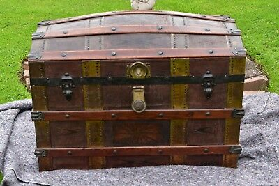 Leather Dome Top Trunk Victorian Blanket Box Steamer Chest Travel Trunk Pirate