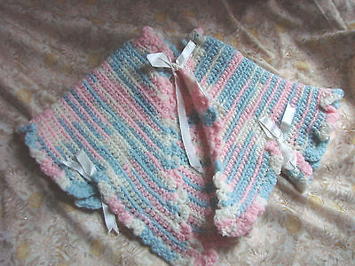 Vintage yarn crochet Infant Bay Sweater Shawl Jacket Blue Pink RIBBONS EC