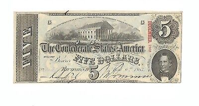 "Orig. Confederate  ""FIVE DOLLAR"" bill 1863  CRISP UNC, but cut-canceled."