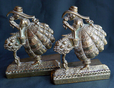 Pair Brass Antique In the Garden of The Pixies Fireplace Ornaments or Bookends