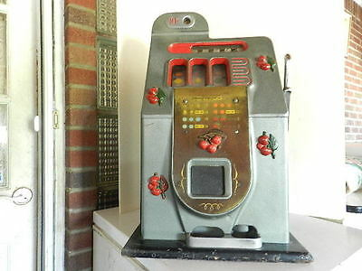 Antique Working Mills 10 Cent Cherry Slot Machine On Wood Base