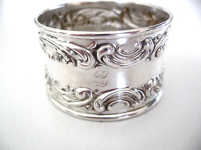 """Very ornate Gorham sterling silver napkin ring with engraved initial """"B"""""""