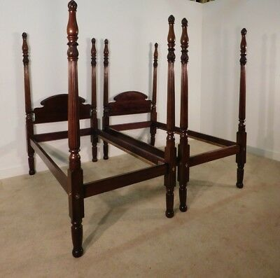 """Pair Antique 1820s Empire Federal Carved Mahogany Flame Twin Beds 82"""" tall"""