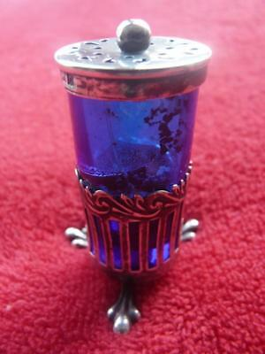 nice hallmarked antique vintage pierced silver trifooted bristol blue glass salt