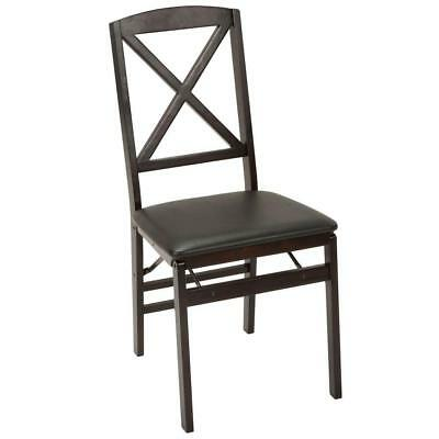Espresso Vinyl Wood Folding Chair Set of 2 Foldable Furniture Utility Chairs New