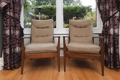 Pair of vintage retro 60s Danish style Teak armchairs by Cintique
