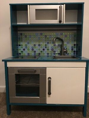 IKEA DUKTIG Turquoise Kids Play Toy Kitchen - Silver Oven & Microwave & Tiles