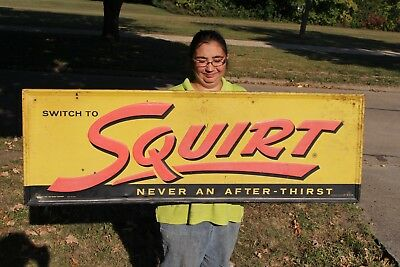 "Large Vintage 1957 Squirt Soda Pop Gas Station 54"" Embossed Metal Sign"