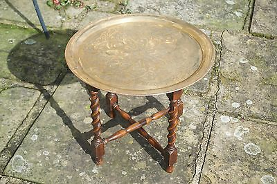 Antique Brass Embossed Folding Campaign Table Asian Middle Eastern 49cm diameter