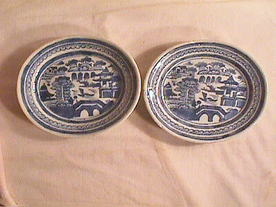 CHINESE EXPORT  BLUE  & WHITE  OVAL  DISHES ,  18th  CENTURY