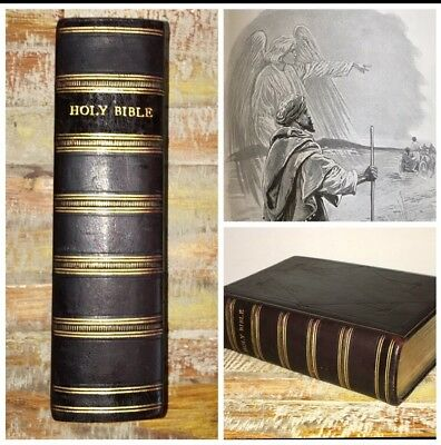 Antique Illustrated Holy Bible Old & New Testament Large Arts Edition Leather