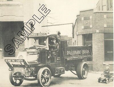 1920s MACK 'AC' PALUMBO BROS. Dump Truck & PEDDLE CAR - Chicago 8x10 B&W Photo