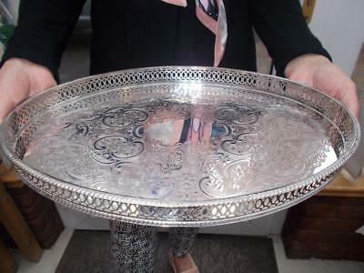 Vintage Sheffield Made Silver Plated Gallery Edged Tray