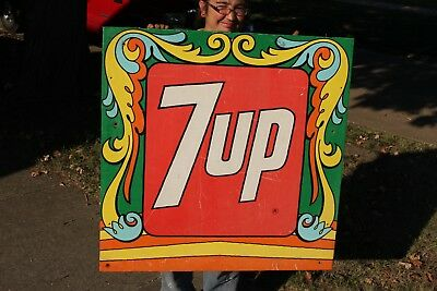 "Rare Large Vintage 1972 7Up Peter Max 7 Up Soda Pop Gas Oil 34"" Metal Sign"