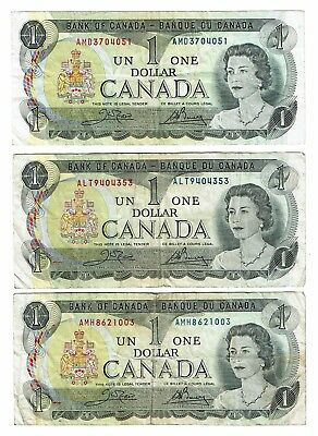 Canada $1 x3 - $2 x2 total $7 1973 notes