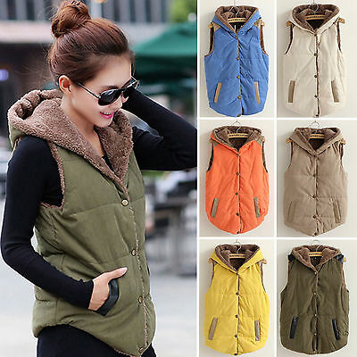 Women Warm Hooded Vest Coat Jacket Casual Sleeveless Hoodies Waistcoat Oversized