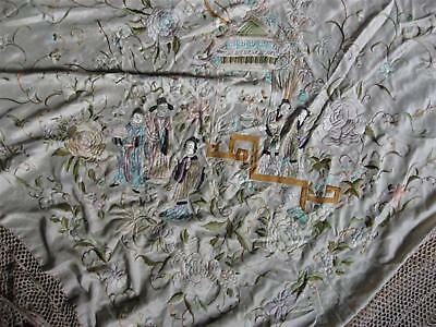 Antique Pale Peach Silk Fringed Chinese Canton Embroidered  Piano Shawl Figures