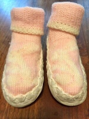 antique baby shoes muckluk style leather soles knitted booties early-mid 1900s