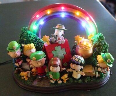 "Danbury Mint Peanuts ""Luck Of The Irish"" Lighted Sculpture Display"