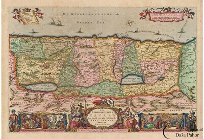 HOLY LAND  MAP  - ORIGINAL Coloured with gold highlights Nicolaes VISSCHER  1663