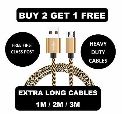 Long Micro USB FAST Data Charger Cable Lead for Samsung Galaxy S4 S5 S6 S7 Edge+