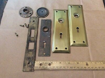 Lot of 6 Vintage Antique Metal Door Back Plates Hardware