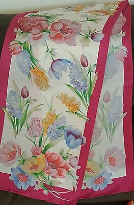 Vintage ADRIENNE VITTADINI Scarf ~White w/ Colorful Flowers~ 52 inches long
