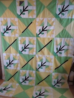 Yellow & Green Flowers Hand Pieced Quilt Top Made in Maine Vintage & Colorful
