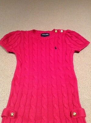 Girls Dark Pink Cable Knit Ralph Lauren Dress - Size 4