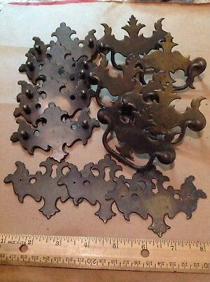 Lot of 13 Vintage Antique Metal Drawer Pulls & Hardware