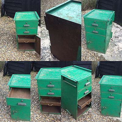 Industrial Cabinet Cupboard Drawers Loft Kitchen Chic Vintage Cool Green Steel