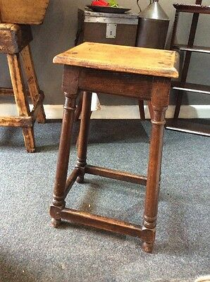Tall Oak Pegged Joint Stool Table Coffee Lamp Cup Stand Period Home Victorian
