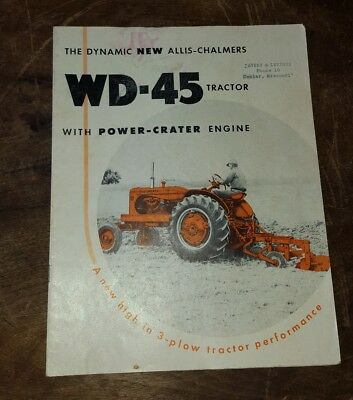 Vintage Allis Chalmers WD-45 Tractor With Power  Crater Engine Brochure