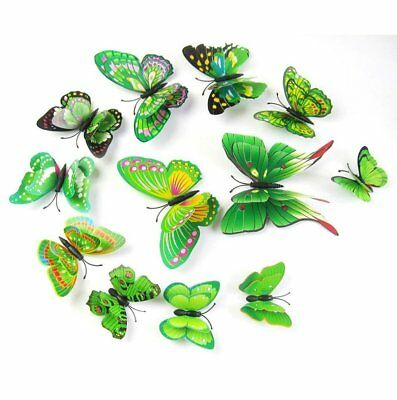 1x Wall Sticker 3D DIY Butterfly Butterfly Home Decor Room Stickers 12Pcs Green