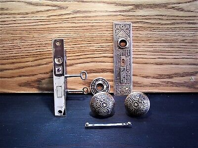 Antique Eastlake Victorian Ceylon Corbin Entry Brass Door Knobs Lock Plates Keys