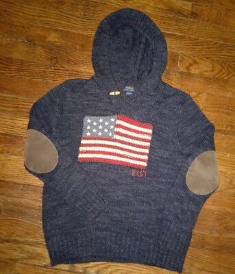 Polo Ralph Lauren Flag Sweater Medium (10-12) hooded  Shawl patches RL-67 Rugby
